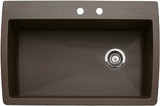 Blanco 440192-2 Diamond 2-Hole Single-Basin Drop-In or Undermount Granite Kitchen Sink, Cafe Brown