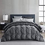 HOMBYS Goose Down Comforter Duvet Insert 120' x 98' Oversized King, All Seasons Grey Goose Down Feather Comforter Hypo-allergenic Grey Pinch Pleat 100% Cotton Shell Down Proof with 8 Tabs, 85OZ (Grey)