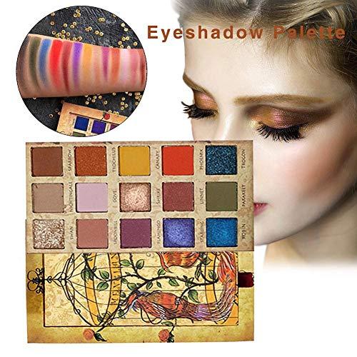 Phoenix Make-up Oogschaduwpalet, 15 kleuren, 15 kleuren, mat, shadow-palet, oogschaduw, natuurlijke nude, lang houdend, waterproof