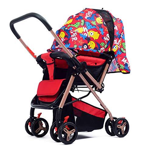 Baby kinderwagen, lichtgewicht klapstoel liggend baby pasgeboren kind hand push paraplu, twee-weg kinderwagen(paars, cartoon rood, cartoon blauw, blauw, rood)