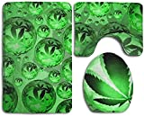Pot Weed Leaf PatternInstrument Trompeta Juego de 3 alfombras de baño antideslizantes, extra suaves, resistentes, absorbentes, lavables, en forma de U