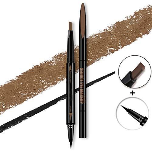 Pinkiou 2 In 1 Eyebrow Eyeliner Pen Drehbarer Augenbrauen-Formstift (Kaffee)