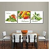 Cuadro Frutas Verduras Arte De La Pared Pintura Decorativa Moderna Tríptico 3 Piezas Impresión De Lienzo Decoración para El Hogar Sala De Estar Comedor Cocina Corredor Mural Juego De Regalo