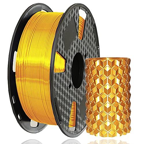 Amazon Brand - Eono Seide PLA-Filament 1,75 mm, Filament im Seidenstil, Glänzend Metallischer Schimmer 3D-Drucker PLA Filament, 1 kg 1Spule, Seidengold,Hat eine metallisierende Optik