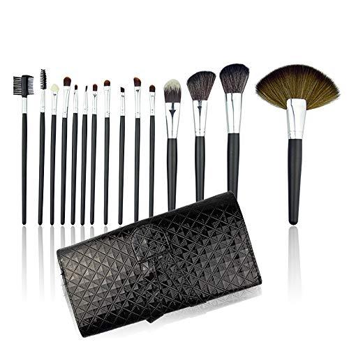 JUZEN Pinceau de Maquillage mis 24 Morceaux de poignée Noire Motif d'autruche Pinceau de Maquillage mis de la Mode pour la Base Mixed Blush Conceal Eyeshadow, Noir