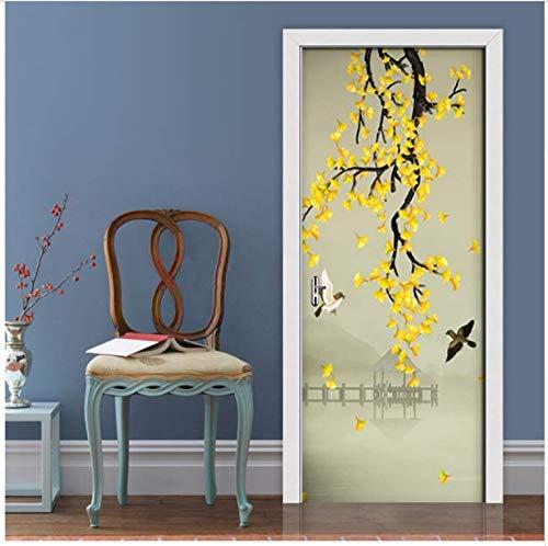 PVC Zelfklevende Deur Sticker, Handbeschilderde Pen Bloem Waterdichte Behang Muurschildering Woonkamer Slaapkamer Deur Huisdecoratie 3D Decals 1 Bestel 95x215cm