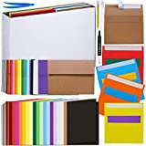 108 Sets 18 Colors A7 Invitation Envelopes Peel & Seal Self Seal 5 1/4 x 7 1/4 Envelopes and A7 Folded Cards 5 1/8 x 7 Notecards for Wedding Shower Greeting Announcement Photo Mailing DIY Cards Making