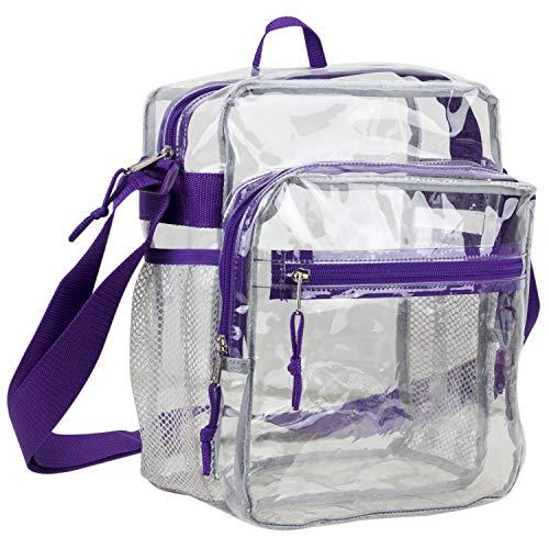 Eastsport Clear Stadium Messenger Bag with Adjustable Crossbody Strap, Transparent Messenger Bag - Purple