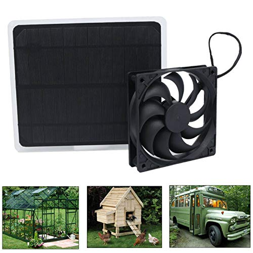 HJJH Solar Powered Dual Fan Kit, 10W Solar Powered Exhaust Fan for Small Chicken Coops, Solar Panel Ventilation Cooling Fan 4Inch Power Bank Fan, Greenhouse, Shed, Motorhome
