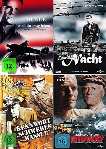 History Collection   Hunde, wollt ihr ewig leben + Unruhige Nacht + Kennwort: Schweres Wasser + Schlacht um Midway [4er DVD-Set