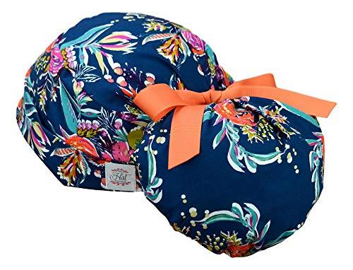 Womens Ponytail Surgical Scrub Hat Large (Zinnias)