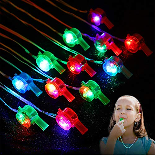 Herefun Favores de Fiesta para Niños, 12 Piezas Artículos de Fiesta Cumpleaños Niños, Juguete Luminoso, Niñas Brillo En La Oscuridad Regalos de Cumpleaños para Fiestas Favores (Silbar)