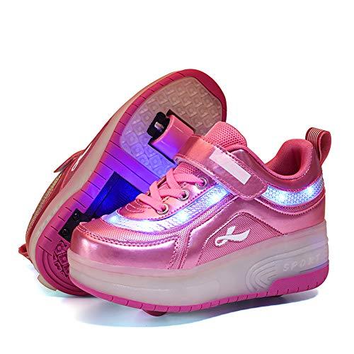 Skybird-UK Kind LED Leuchtend Schuhe mit Doppelt Rollen Automatisch Einziehbar Outdoor Sportschuhe 7 Farbe Farbwechsel Blinkschuhe Skateboardschuhe mit USB Charge Vibration Blinking Gymnastik Sneaker