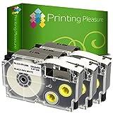 Printing Pleasure 3 x XR-12WE XR-12WE1 Schwarz auf Weiß, Schriftband kompatibel für CasioKL-60...