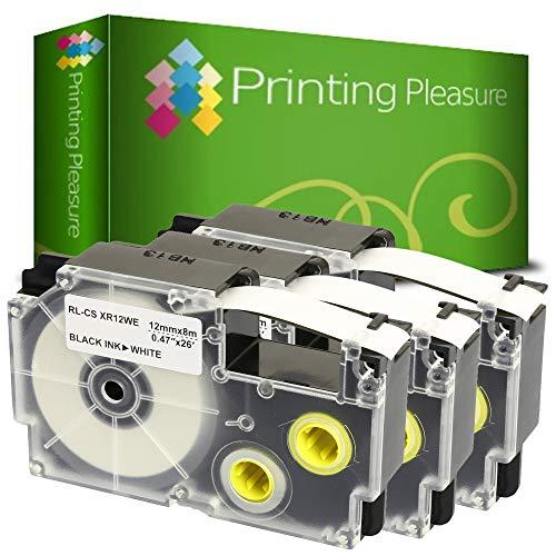 Printing Pleasure 3 x XR-12WE XR-12WE1 Schwarz auf Weiß, Schriftband kompatibel für CasioKL-60 KL-100 KL-120 KL-200 KL-300 KL-750 KL-780 KL-820 KL-2000 KL-7000 KL-7200 KL-8100 | 12mm x 8m | Farbband