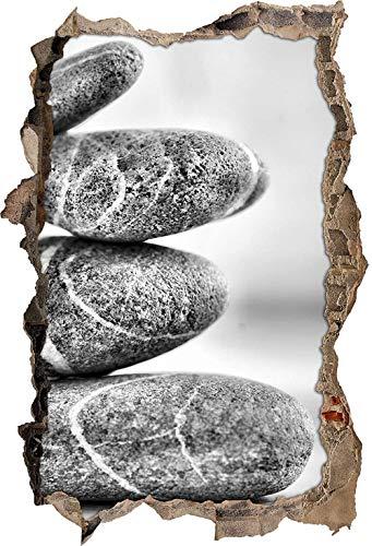 KAIASH Pegatinas de Pared Monocrome Zen Torre de Piedra Avance de Pared en Apariencia 3D Etiqueta de la Pared o de la Puerta Etiqueta de la Pared decoración de la Pared 62x42cm