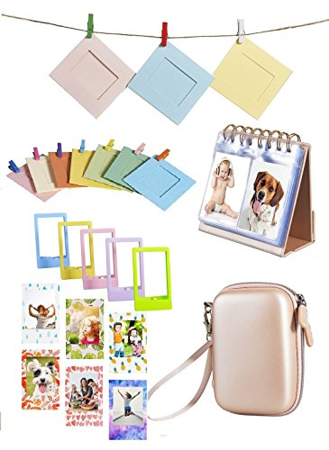 HP Sprocket and Polaroid Zip Instant Printer Accessories Bundle, 5 in 1 Kit Includes: Printer Case, Photo Albums, Color mini photo frame, Magnetic photo framens, Wall Hanging frame (Rose Gold)