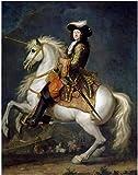 Tela De Lienzo 60x90cm Sin Marco Rey francés Luis XV con retrato de caballo para sala de estar