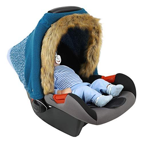 Camidy Babyautositzbezug mit Kunstpelzsaum Gestrickter Neugeborenen-Autositz-Baldachin-Kinderwagenbezug Winddichter Kinderwagenbezug für Jungen Mädchen im Freien