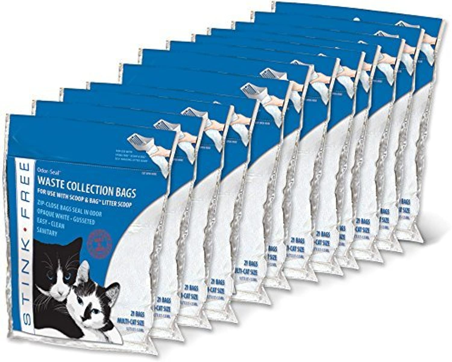 OdorSeal Cat Litter Waste Collection Bags (fits Scoop&Bag) 12 Pkgs (252 Bags) by Stink Free