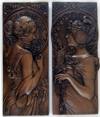 Paar–Mucha Stil Bronze Wall Vorlagen Jugendstil Art Skulpturen