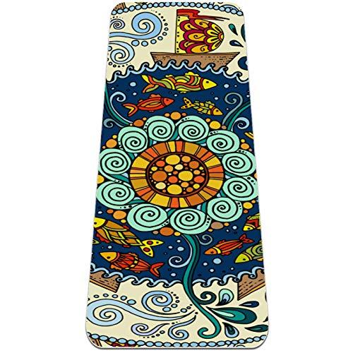Esterilla de ejercicio de yoga de 182 x 81 cm, respetuosa con el medio ambiente, superficie de goma natural con alineación corporal con patrón geométrico de flores bohemias
