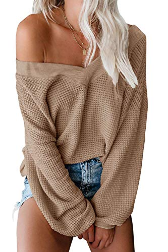 ReachMe Women's Oversized Off Shoulder Pullover Tops Long Sleeve Loose Fit Waffle Knit Tops(Khaki,M)