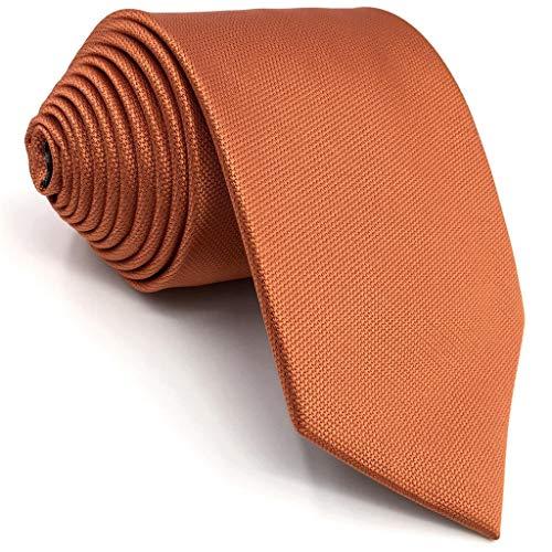 Shlax&Wing Hombre Seda Corbatas Para Boda Naranja Color Sólido flaca