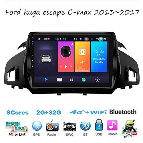Autoradio Android Radio Sat Nav Doppio Din per Ford Kuga Escape C-Max 2013~2017 Navigazione GPS Touch screen da 9 pollici Unità principale Lettore multimediale Ricevitore video
