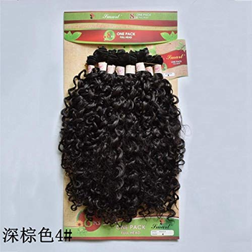 Perruque Kinky Curly Synthetic Hair Bundle 8Pcs 20-24 Pouces Extensions De Cheveux Courts Afro- # 4_24Inches
