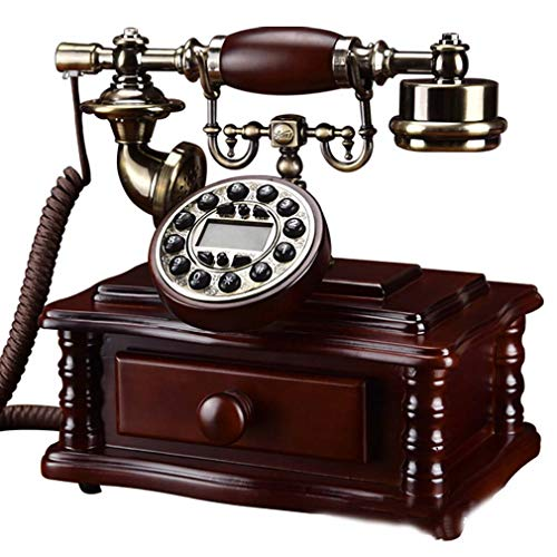 ZJUAN Madera Maciza Teléfono Retro Vintage,Botones Teléfono Retro,Anti Radiación Timbre Extra Fuerte Teléfono Retro,Creatividad Hogar Y Decoración Marcación De Botones