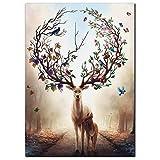 YH HD Gedruckt Abstrakte Moderne Poster Fantasie Wald Elch
