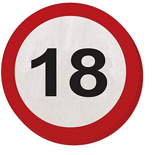 Lot de 20 Serviette de Table Design Panneau de Signalisation 18 Ans Anniversaire Fête Célébration 33x33cm