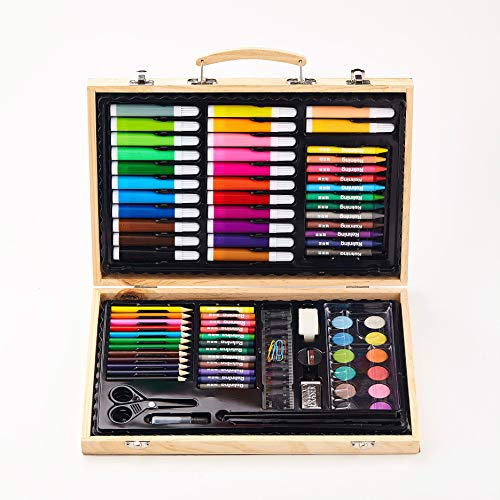 NNTTY 108-Piece Deluxe Art Sets for Painting & Drawing,Art Supplies in Wooden Case, Oil Pastels, Colored Pencils, Watercolor Cakes,ainting & Drawing Set Professional Art Kit for Kids
