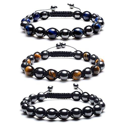 Top Plaza Men's Women's Reiki Healing Energy Natural Tiger Eye Stone Magnetic Hematite Therapy Beads Macrame Adjustable Braided Link Bracelet(Set of 3)