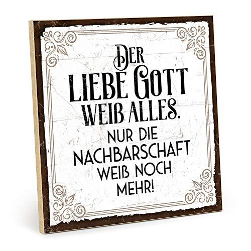 TypeStoff Holzschild mit Spruch – NACHBARSCHAFT – im Vintage-Look mit Zitat als Geschenk und Dekoration zum Thema Gott, Nachbarn und Wisssen (19,5 x 19,5 cm)