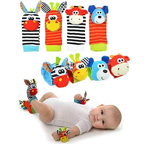 Gudotra Kit 8 Pezzi 4 x Neonato Sonagli Animali + 4 x Calzettini da Polso Bambini Morbidi Bracciali Regalo per Neonato Piedi