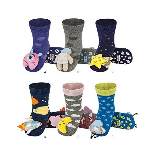 soxo Calcetines Antideslizantes de Color para Bebe | Paquete de 6 | Talla 19-21 | para Niñas y Niños de 12 a 24 Meses | Calcetines Sonajero Animales de Algodón | Antialérgicos y no Irritan la piel