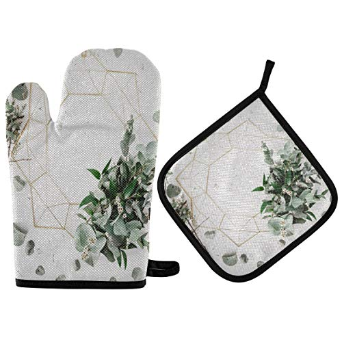 Nander Green Leaf Wall Oven Mitts and Potholders Set, with Heat Resistance and Recycled Cotton Infill Non-Slip Cooking Gloves for Baking Cooking BBQ