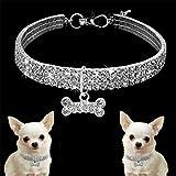 LAOZI Strass Hundehalsband, Crystal Puppy Hundehalsband Abschleppseil, für kleine mittelgroße Hunde