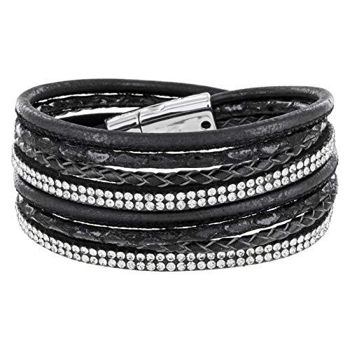 StarAppeal Armband Wickelarmband mit Strass und Flechtelement, Magnetverschluss Silber Glanz, Damen Armband (Schwarz)