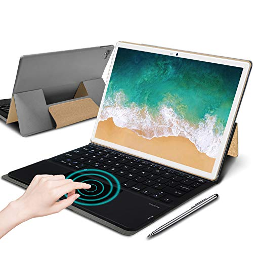 4G Tablette Tactile 10.1 Pouces Full HD, 4Go RAM 64/128Go ROM WiFi Tablette Android 9.0 Octo-Core 2.3Ghz Certifié Google GMS, 8000mAh Tablette PC 10.1' Pas Cher avec Clavier,Double Nano SIM,GPS(Or)