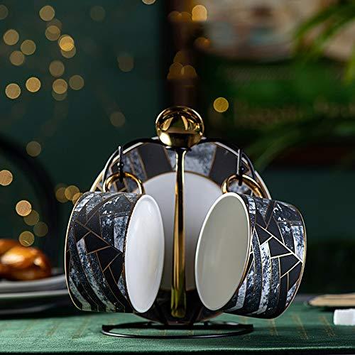 A forma di diamante di ceramica del caffè Tea Set Marmo Modello Coffee Cup combinazione impostata Bone China Coffee Pot Cup casa Afternoon Tea Set (Color : 2 Sets with a bracket)