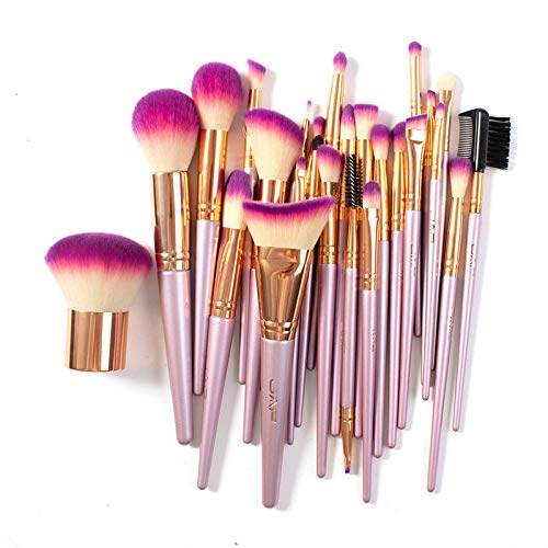 Makeup Brush Set Professional, JAF 26pcs Kabuki Face Contour Brush Set Pink Complete Vegan Brush Kit Full Face Makeup Brushes Soft Make Pretty Cute Rose Gold Cosmetic brush set makeup for Contouring Foundation Blush
