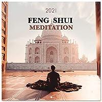風水 瞑想 2021 壁掛けカレンダー 11.8 x 11.8インチ (16ヶ月) ファミリープランナーカレンダー 2021