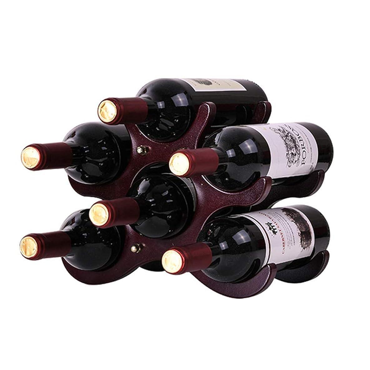 故意の添加自分自身木製ワインラックワインボトルホルダーカウンターキャビネットワインホルダー収納は、スタンド6本のボトルを持ち、赤&白ワインのためのスペースセーバープロテクター