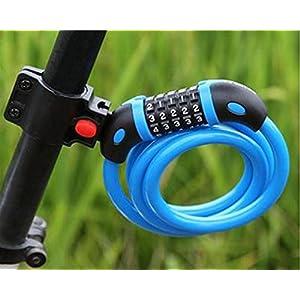 Cadena de alta seguridad para bicicleta GoFriend con combinación de 5 dígitos reajustable, cable para enrollar lo mejor para bicicletas al aire libre. 1,2m x 12mm., azul