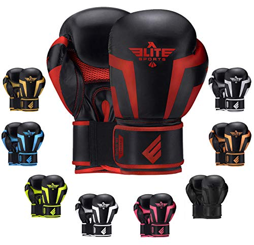 Boxing Gloves for Men, Women, and Kids, Elite Sports Kickboxing Punching Bag Pair of 2 Gloves (Red,...
