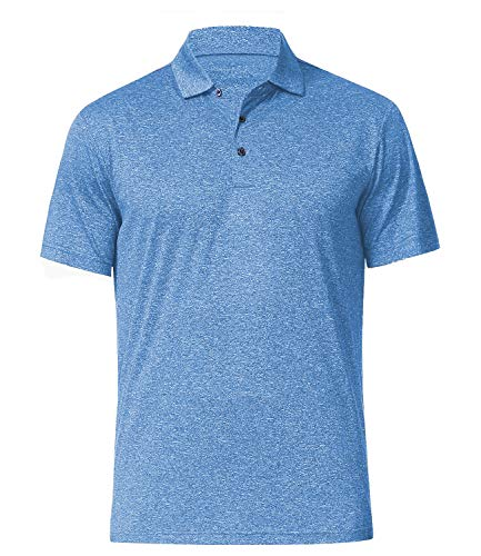 Men's Athletic Golf Polo Shirts, Dry Fit Short Sleeve Workout Shirt (XXL, Light Blue)
