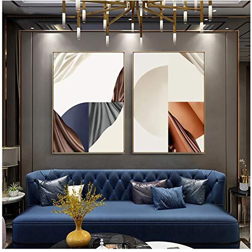 Cuadro de lienzo nórdico Bufanda de seda geométrica Carteles de bloques de color Impresiones Cuadros de pared para sala de estar Decoración de dormitorio Póster de arte 60x80cm (24x32in) × 2